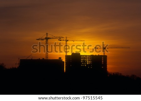Sunset at the construction site. Please see similar images in my portfolio.