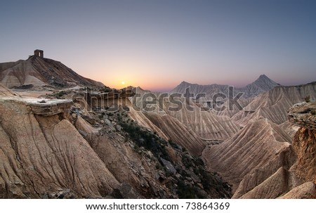Sunset at the desert of Bardenas - stock photo