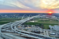 Sunset at the Edge of a Dallas Highway - Dallas, Texas, USA