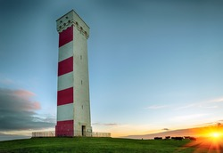 Sunset at the Gribbin Head lighthouse in Cornwall