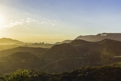 Sunset at the Hollywood Sign from the Griffith Observatory.