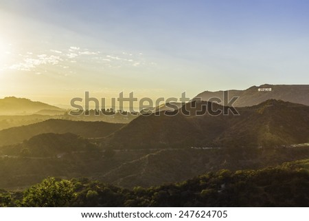 Sunset at the Hollywood Sign from the Griffith Observatory. #247624705