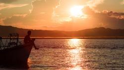 Sunset at the Irrawaddy River (Ayeyarwaddy River) in Bagan, Myanmar (Burma)