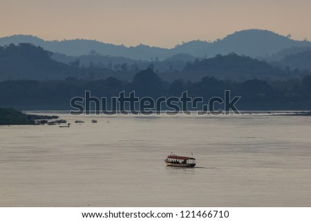 Sunset at the mekong river thailand and laos