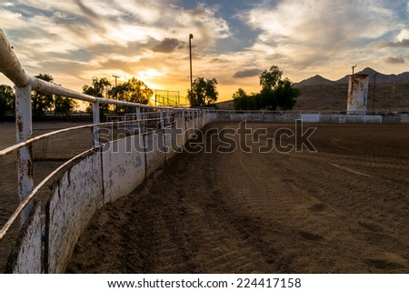 Sunset at the old rodeo grounds.