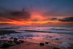 Sunset at the Phare des Baleines, Ile de Ré (France), beautiful place and colors.