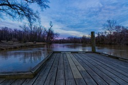 Sunset at the Pier on a Cloudy Day at Roslyn Landing Park in Colonial Heights VA