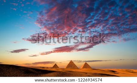 Sunset at the Pyramids, Giza, Cairo, Egypt.jpg  #1226934574