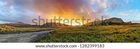 Sunset at the Quiraing on the Isle of Skye - Scotland, UK #1282399183