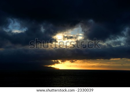 sunset at the sea in azores