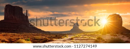Sunset at the sisters in Monument Valley, USA #1127274149