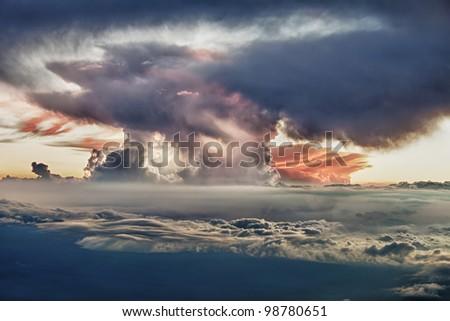 sunset at the summit of Mauna Kea in Hawaii - stock photo