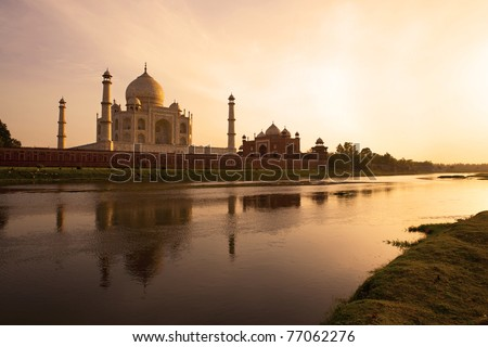Sunset at the Taj Mahal reflected in the Yamuna River