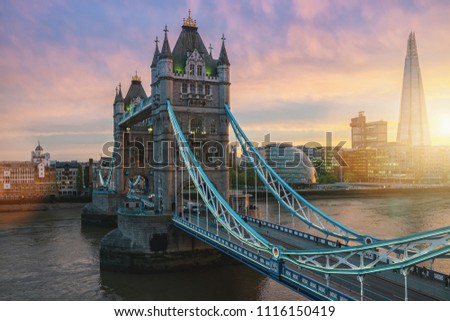 Sunset at the Tower Bridge in London, the UK #1116150419