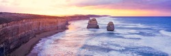 Sunset at the twelve Apostles along the famous Great Ocean Road in Victoria, Australia