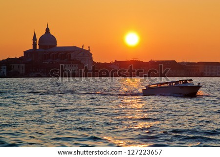 sunset at the Venetian lagoon