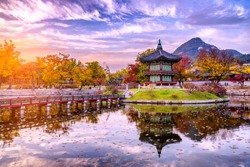 Sunset at the water pavilion in the Gyeongbokgung palace of the land in seoul,south korea.