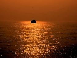Sunset at the way to Gangasagar