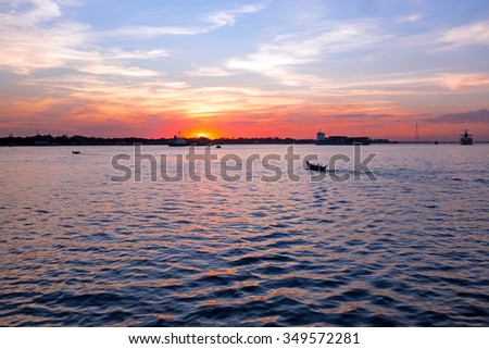 Sunset at the Yangon river in Yangon Myanmar #349572281