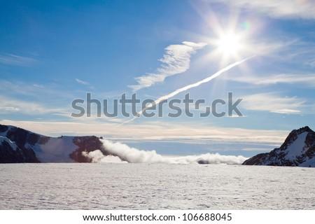 Sunset at top of Franz Josef Glacier New Zealand