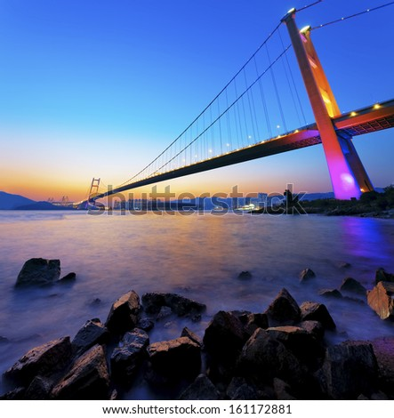 Sunset at Tsing Ma Bridge  #161172881