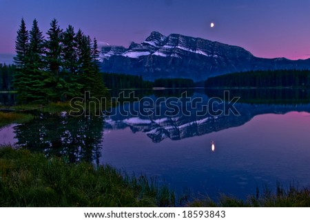 Sunset at Two Jack Lake in Banff National Park, Canada