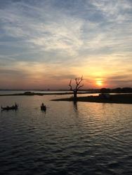 Sunset at U Bein Bridge with Boat, Mandalay, Myanmar
