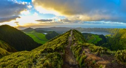 Sunset at Viewpoint Boca do Inferno Hike Panorama, Vulcanic Lake in the Background, Sao Miguel Island, Azores, Portugal