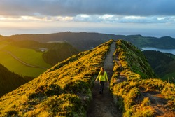 Sunset at Viewpoint Boca do Inferno, Hiking Panorama, Vulcanic Lake in the Background, Sao Miguel Island, Azores, Portugal