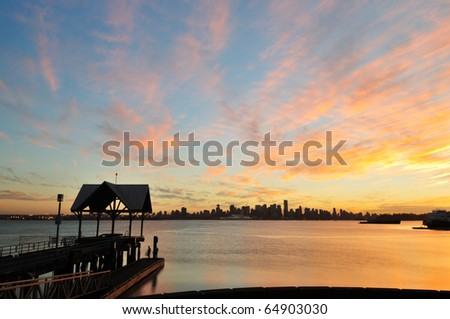 Sunset at Waterfront Park in north Vancouver, BC