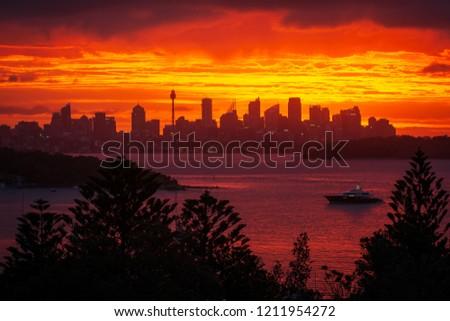 Sunset at Watsons Bay, Sydney, Australia. Epic sunset overlooking Sydney Harbour and Sydney cityscape.