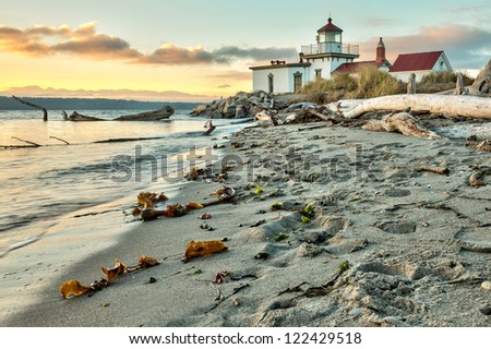 Sunset at West Point Lighthouse at Seattle Washington