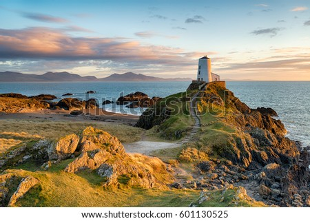 Sunset at Ynys Llanddwyn island on the coast of Anglesey in North Wales with the mountains of Snowdonia in the distance. #601130525