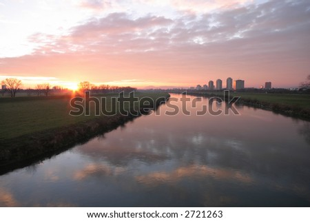Sunset at Zagreb over river Sava - stock photo