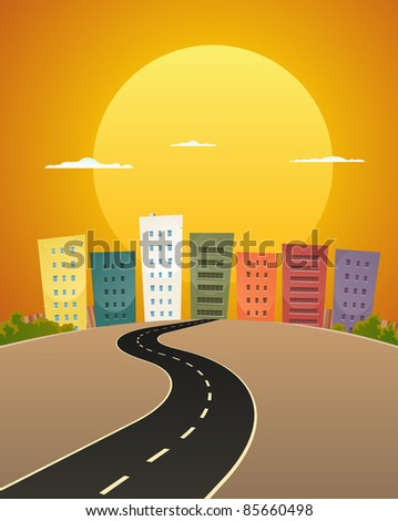 Sunset Avenue/ Illustration of a cartoon city street road in the sunrise