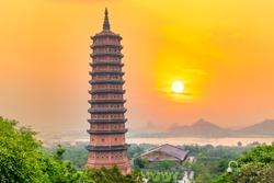 Sunset Bai Dinh Pagoda the biggiest and largest temple complex in Vietnam, Trang An, Ninh Binh