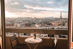Sunset balcony in Paris, France