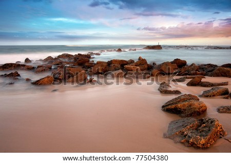 sunset beach at newcastle