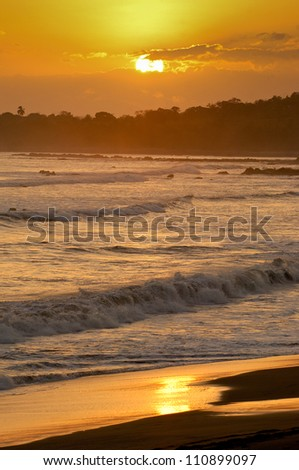 Sunset Beach, dusk, Los Destiladeros beach, Los Santos province, Panama, Central America