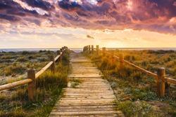 Sunset beach near Almeria. Cabo de Gata Nijar Natural Park, Almer���a. Spain. Andalusia