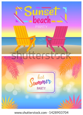 Sunset beach party hot summer days poster with sunbeds pair of chaise-lounges on coastline raster illustration summertime event adverts posters.