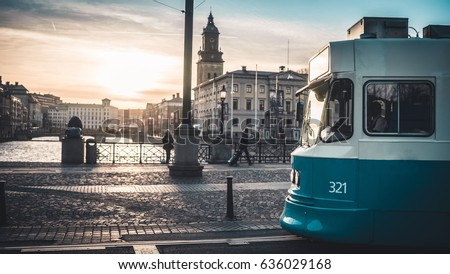 Sunset behind a Tram in the City of Goteborg, Sweden