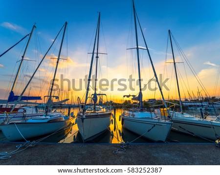 Sunset Behind Boats Docked on Lake Balaton, Hungary, Europe