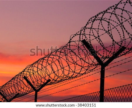 sunset behind the barbed wire - fence with red sky background - cd cover rear