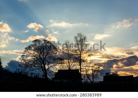 sunset behind the trees, house, silhouette, sun, nature, clouds, landscape, sunset, tree, behind, sun, landscape, nature