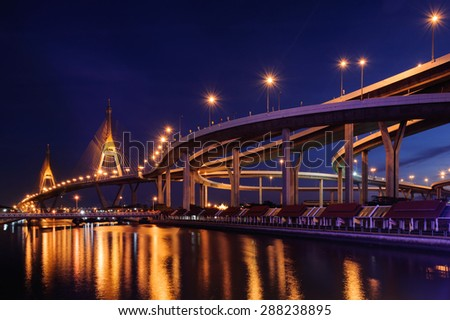 Sunset Bhumibol Bridge cross overpass Chao Phraya River in Bangkok ,Thailand #288238895