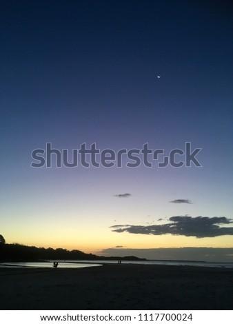 Sunset, blue light, Cylinder Beach, Stradbroke Island, Australia, Tropical Paradise #1117700024