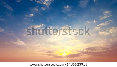 Sunset blue sky and cloud multi-color background. #1435523918