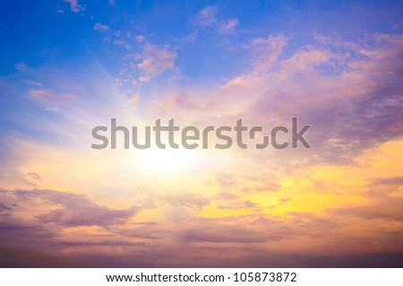 Sunset. blue sky and clouds.