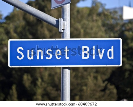 Sunset Blvd sign.  Los Angeles's famous route from downtown to Beverly Hills.